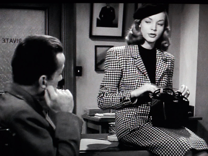 The Big Sleep, 1946, starred Humphrey Bogart as detective  Philip Marlowe trying to solve a crime or two. He encounters Lauren Bacall as Vivian Rutledge, and has more problems than just solving the murders .