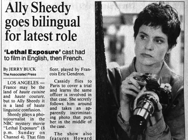 Ally Sheedy played the part of a photojournalist in the 1993 movie Lethal Exposure, shot for tv by NBC.
