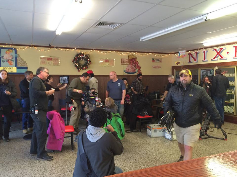 The film crew sets up a scene inside Nelson's Ice Cream in Royersford. Photo by Amanda Nelson