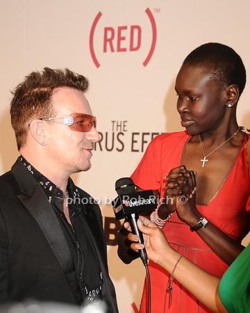 Bono, Alek Wek<br /> by Rob Rich © 2010 robwayne1@aol.com 516-676-3939