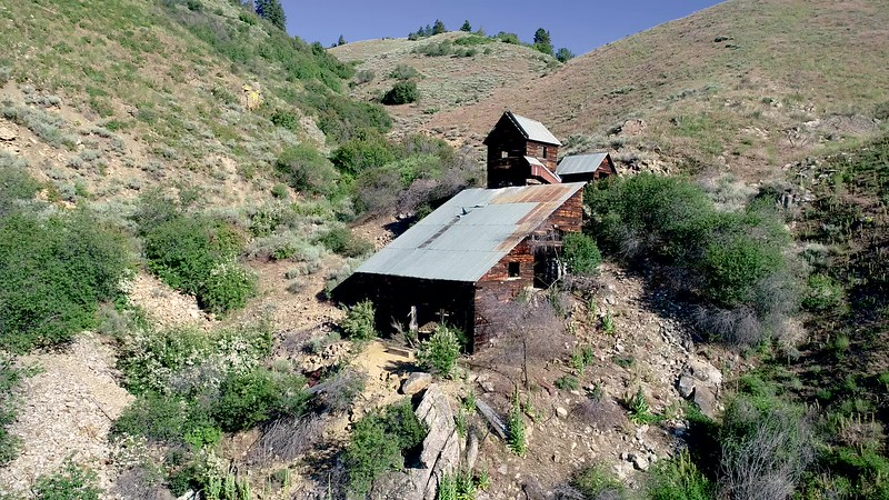 Canyon where an abandoned gold mine is located in the desert of Idaho
