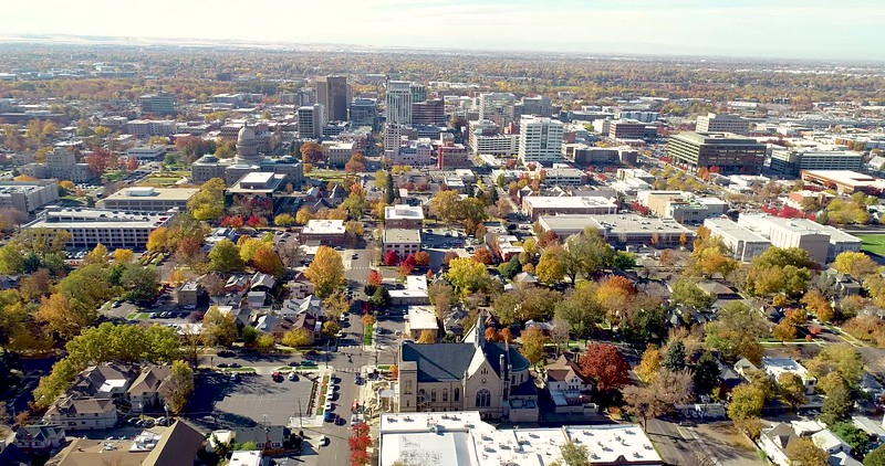 Overhead aerial view of Boise Idaho with fall trees at peak color