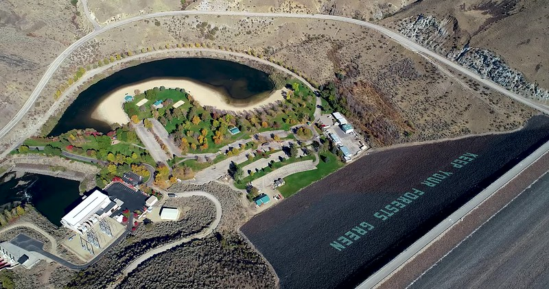 Aerial view of an Earthen Dam on the Boise River in Idaho autumn