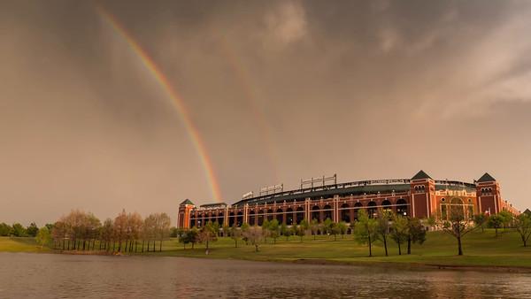 Rangers Stadium Stormy Skies