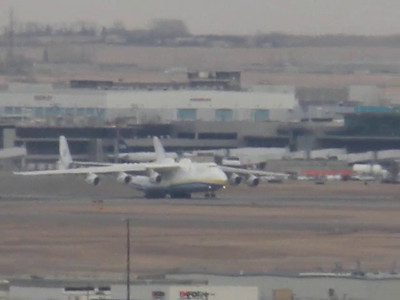 Antonov An-225 Taking off from Calgary Airport, March 13th.  Shot from downtown Calgary (so excuse shakey camera work!).