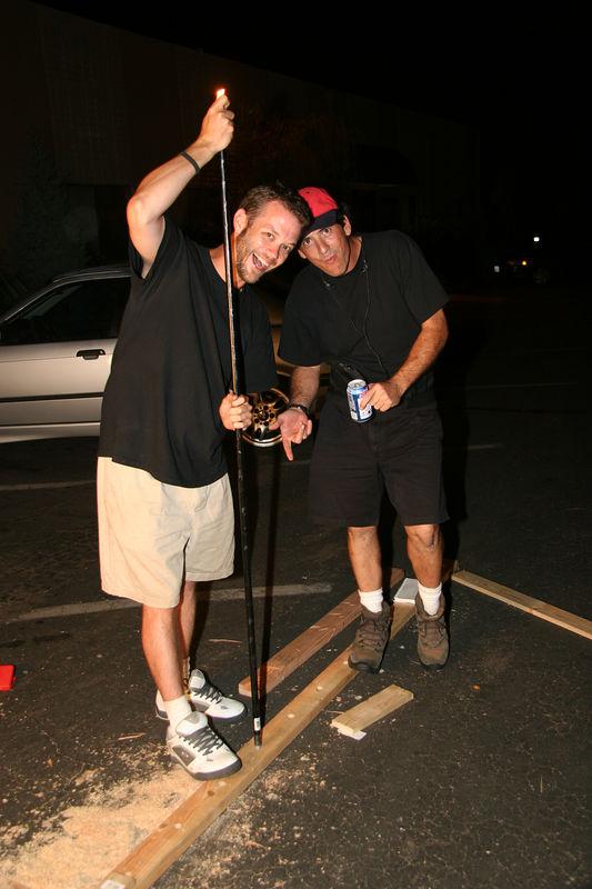 Second Assistant Director, Bryan Davis and Grip, Robert Winsmann construct the jail facade.