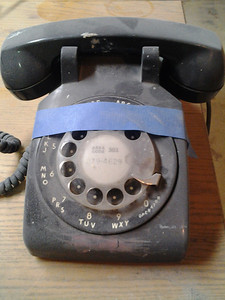 Vintage phone still in new basement