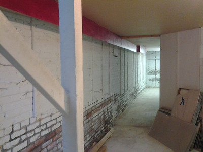 New space's basement just after the brick restoration (tuck pointing)