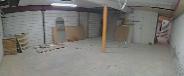 Panorama of back room in new space's basement.  This is where most of the framing production stuff is going.