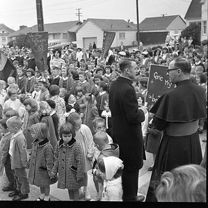Some 400 children participated in a processional from the old St. Bernard's Elementary School on Dollison Street to the new school building at 115 Henderson St. in Eureka. This photo was taken on April 5, 1965. (Times-Standard file photo)