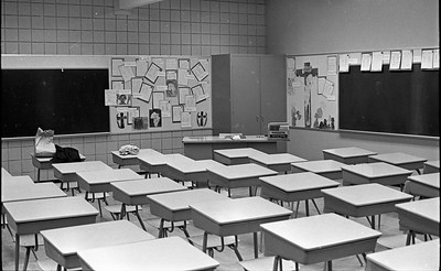 The fourth-grade class in the new St. Bernard's Elementary School building at 115 Henderson St. in Eureka awaits students, who swarmed into the classroom later in the day on April 5, 1965, following a parade and opening ceremony to dedicate the new facility. (Times-Standard file photo)