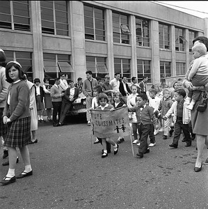 Young children set to attend St. Bernard's Elementary School participate in a processional from the old St. Bernard's Elementary School to the new school on Henderson Street in Eureka in April 1965.  (Times-Standard file photo)