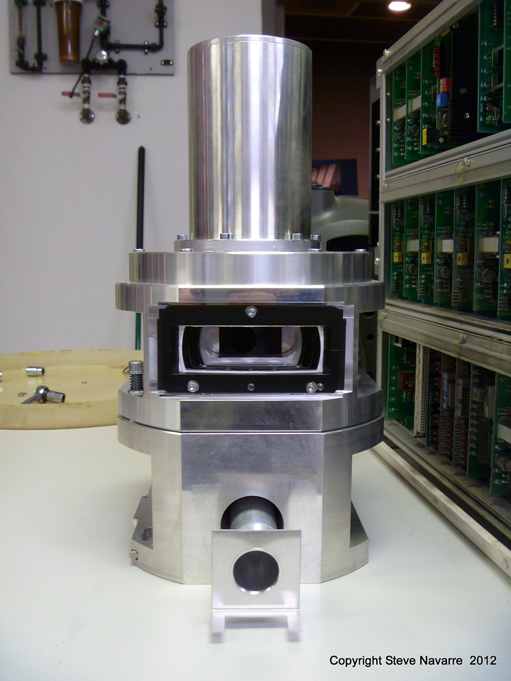This is the scanner head which projected the laser beam onto the photographic material.