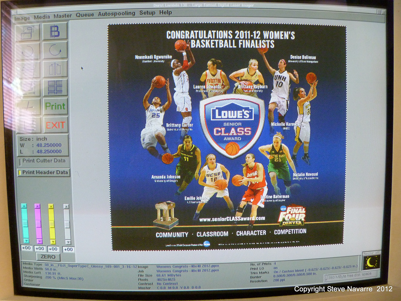 """This was the last file printed, made into four  48""""x48"""" poster for the NCAA Women's Final Four being held at the Pepsi Center."""