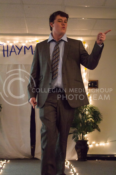Dancing along with the music, Carter Ewing participates in the lip sync portion of the competition. The Mr. Haymaker 2018 competition was held Feb. 19 in Haymaker Hall. (Andrea Klepper | Collegian Media Group)