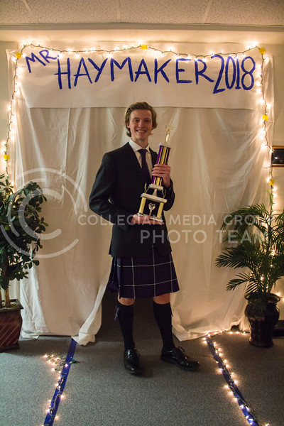 Mr. Haymaker 2018, Ian Nichols poses with his trophey after the competition. The Mr. Haymaker 2018 competition was held Feb. 19 in Haymaker Hall. (Andrea Klepper | Collegian Media Group)