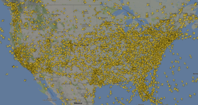 All airliners in the air.  4:36pm CST 4/22/18.  Typical volume...lotsa cameras.
