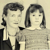Second try for passport picture. Mary Wooldridge Beyer b. 1911 and daughter Mryka (Christine) Beyer, b. 1950. Photo summer 1954.