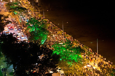 Thousands of people celebrating Christmas. Gurney Drive, Penang
