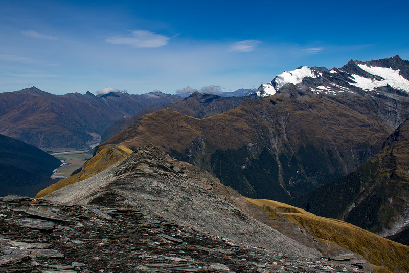 Cameron Flat (junction of the East and West Matukituki) from Sisyphus Peak