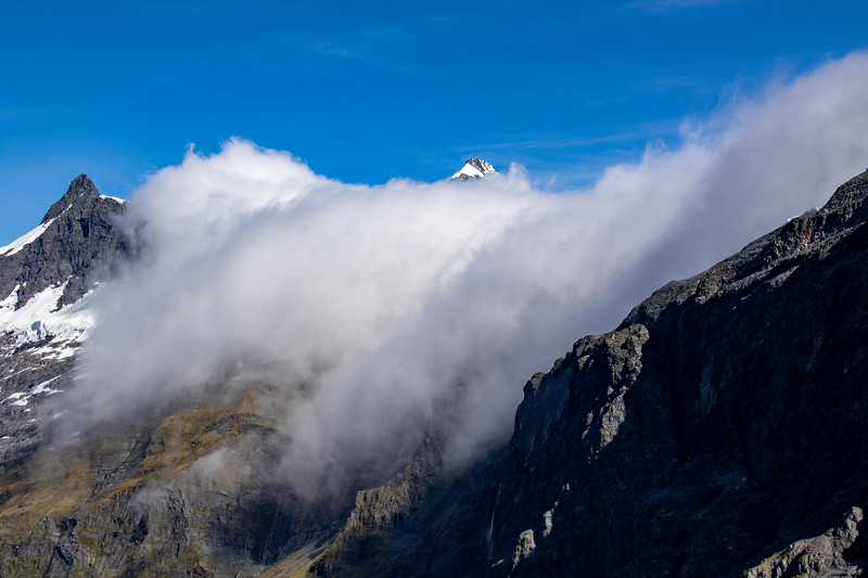 Mt Aspiring / Tititea just showing above the cloud