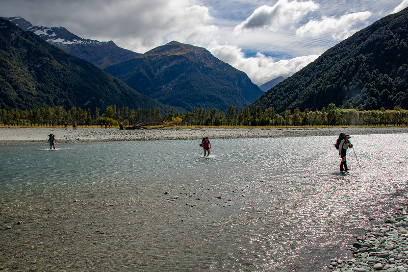 Crossing the West Matukituki at Cameron Flat