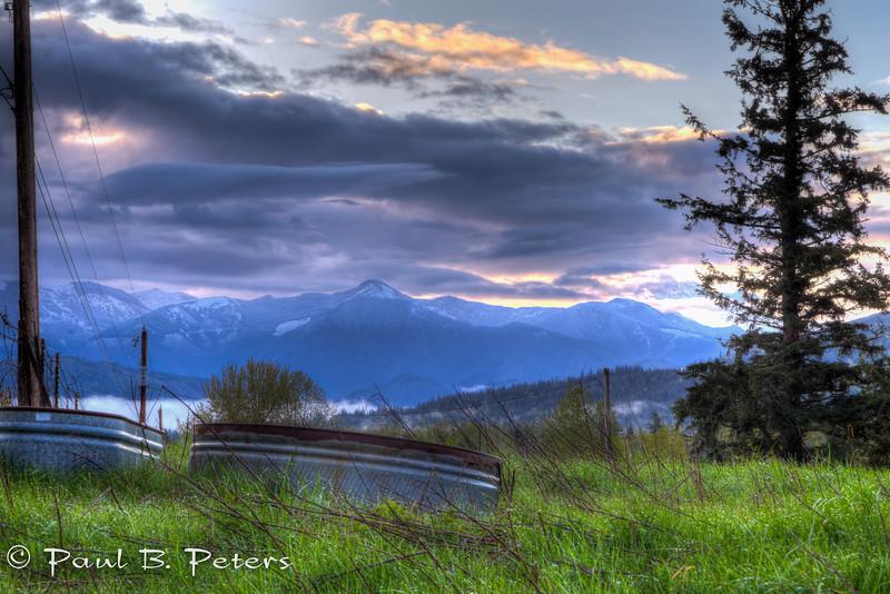 pre-sunrise across the hayfield