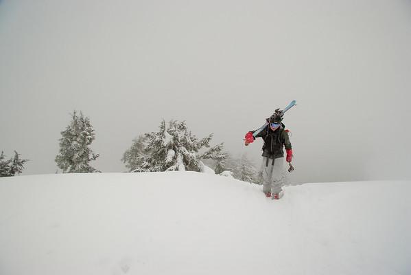 Hiking and skiing Shuksan Arm, Feb. 2009