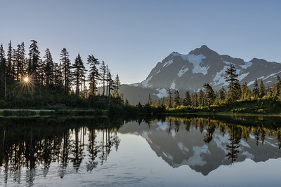 Mt Shucksan at sunrise with reflections in Picture Lake..