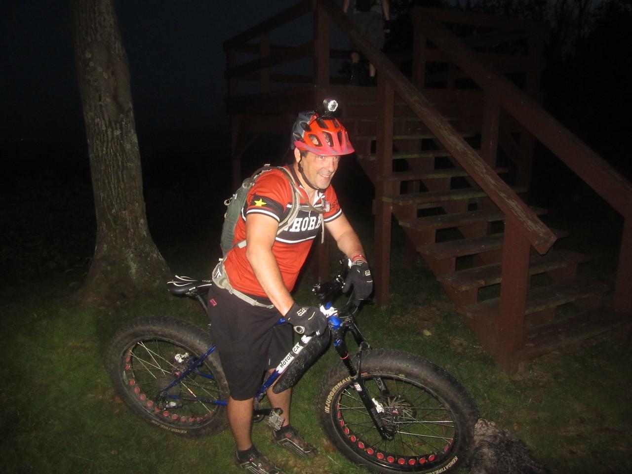 Kindercop is having fun on his fat bike tonight.