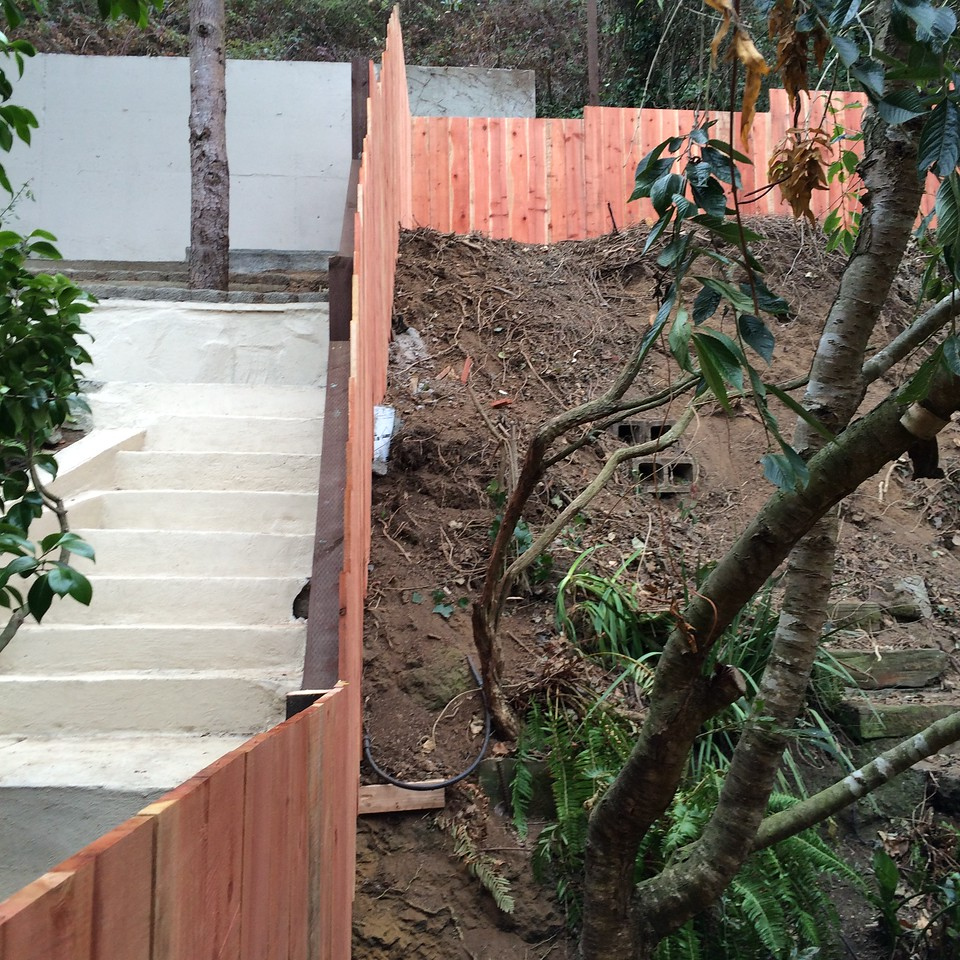85 foot fence built on 45 degree slope