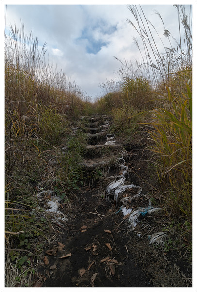 The path up the susuki hill was in pretty bad shape because of typhoon rains the day before.