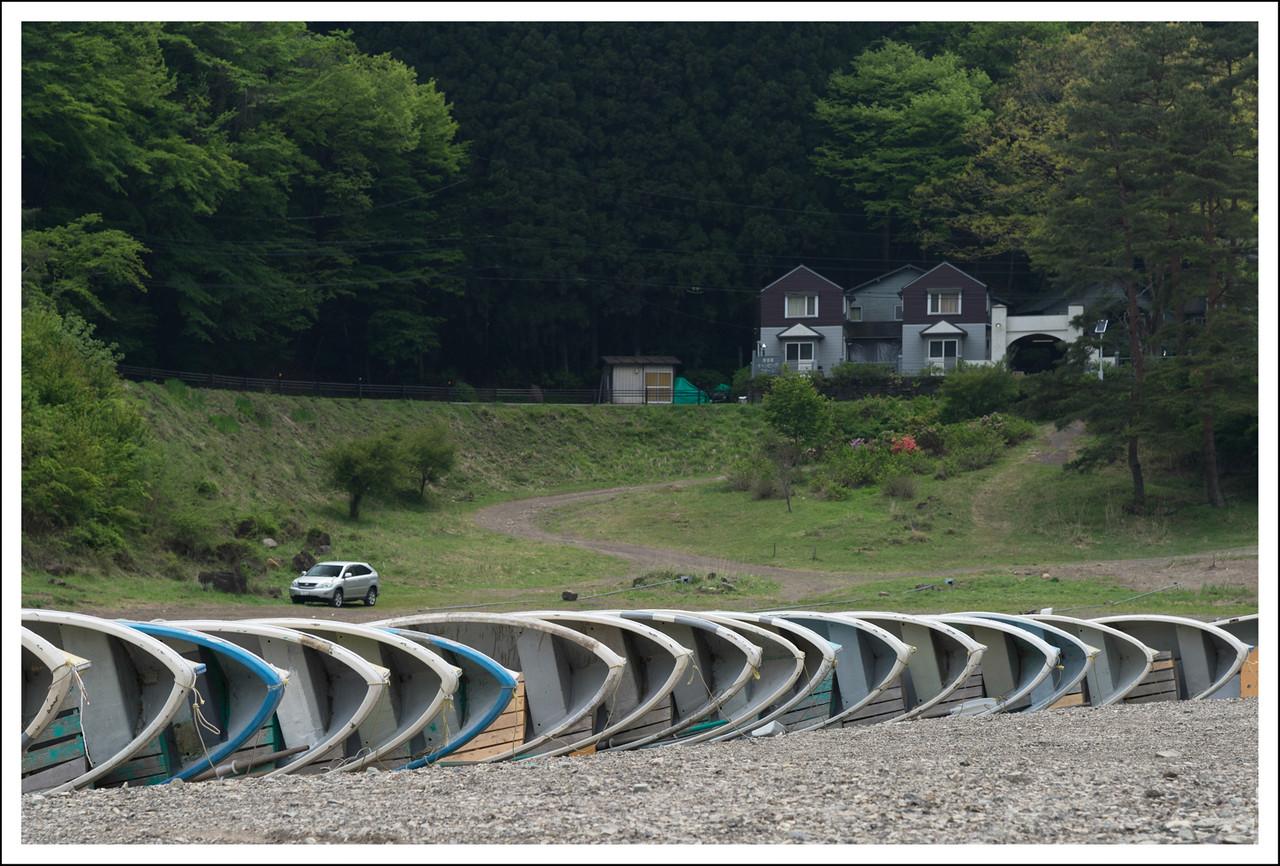 row boats at Lake Shoji