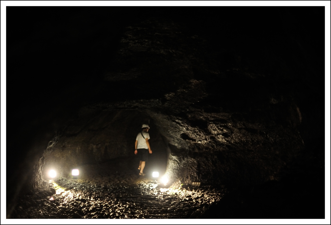 Seishi inside the bat cave.  It was really dark and very difficult to focus.  This is very near Lake Saiko