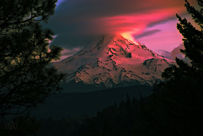 Sunset Erupts on Mt. Hood