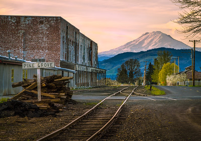 As the last light departs the day, tracks in Pine Grove point to Mt Adams