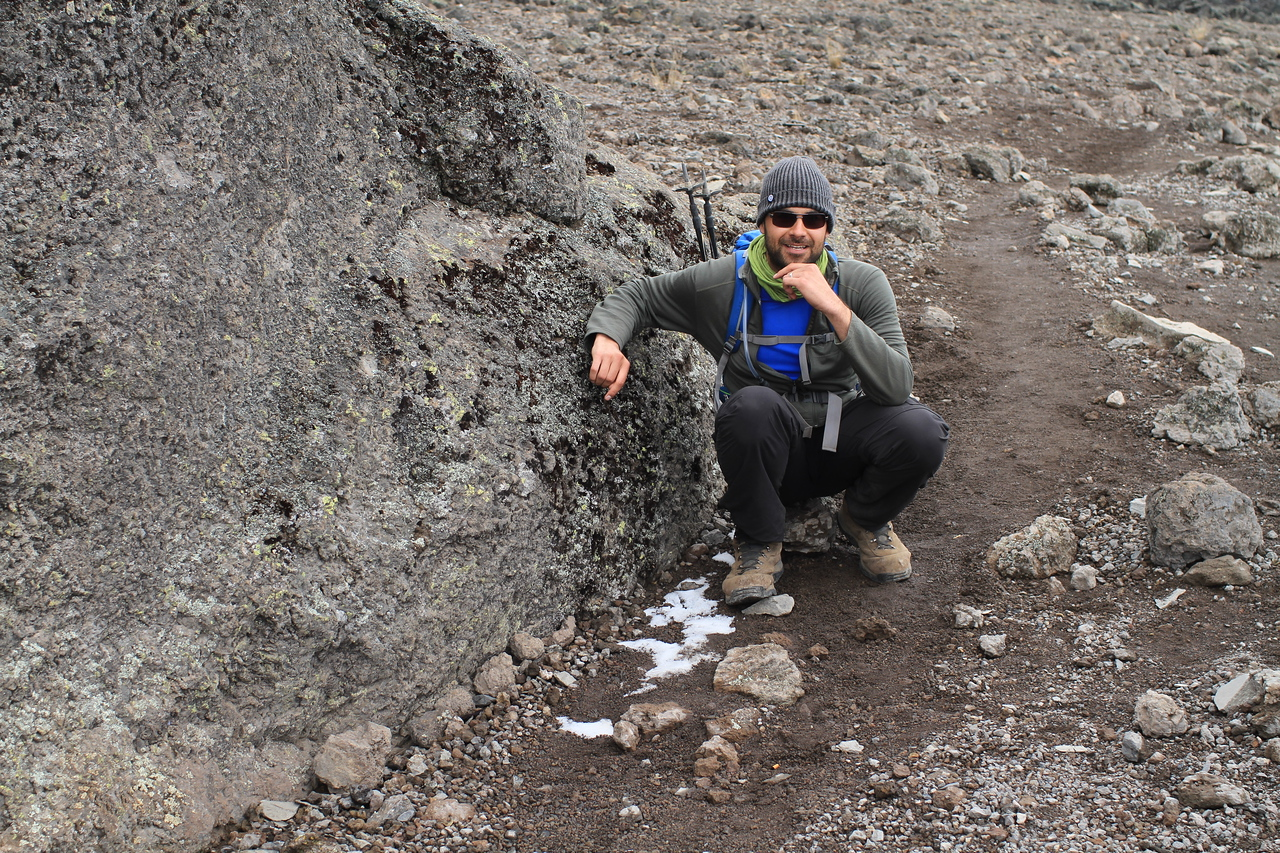Graham being pretty next to our first snow on Kilimanjaro