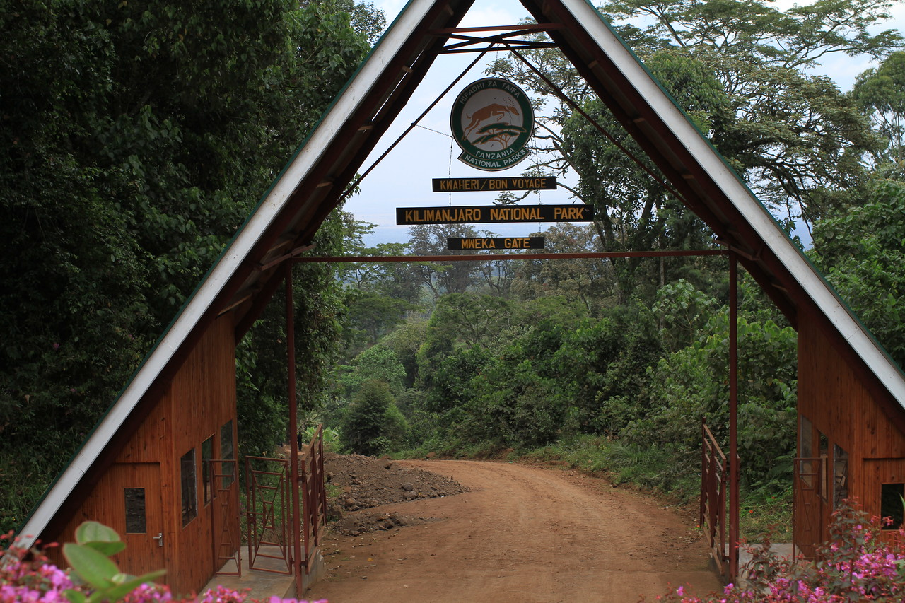 Leaving the park through the Mweka Gate