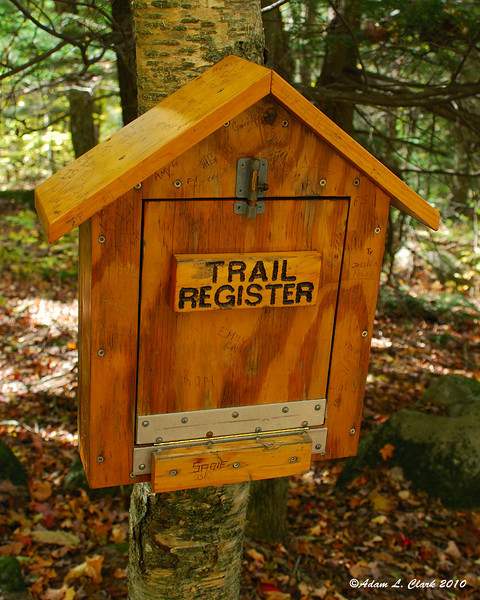 Where the trail register (notebook) is kept for people to sign a little ways up the trail from the parking area.