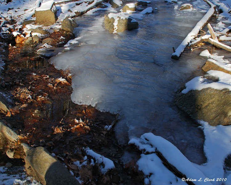 Early on the White Dot trail I came across ice in the trail from water seeping out of the ground