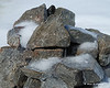 One of the cairns with ice on it