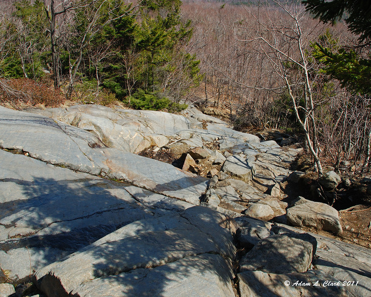 Looking down the longest steep section of the White Cross Trail