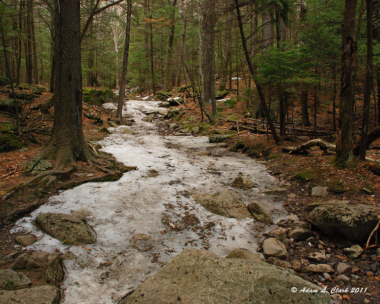 Still some patches of ice.  Make sure not to go off trail to avoid them, just be careful on them