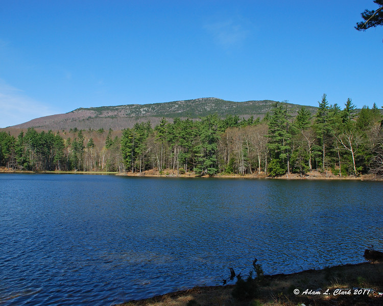 View up to the mountain alone the shore of Gilson Pond