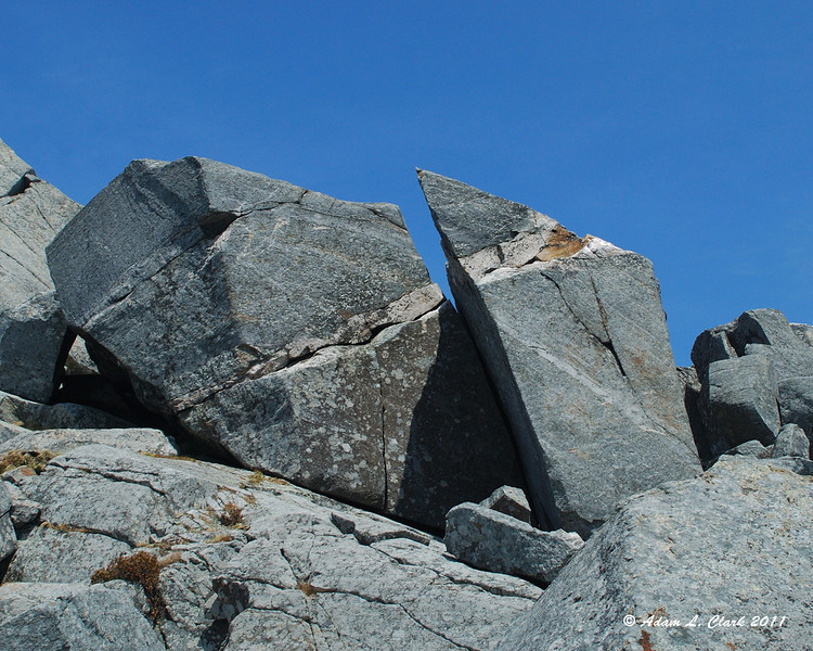A large rock split in two