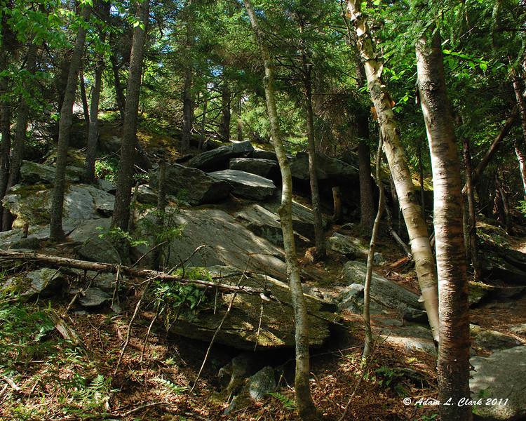 A scramble over some open rocks
