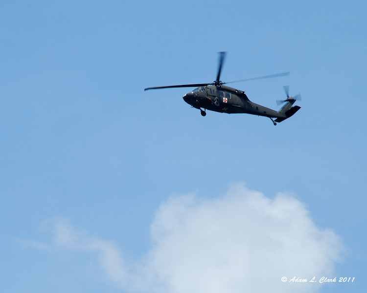 A helicopter that came flying by