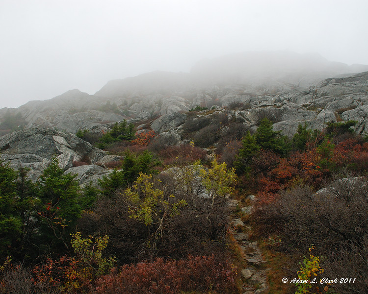 Looking back up to the summit