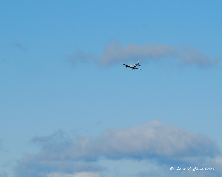 A plane flying nearby