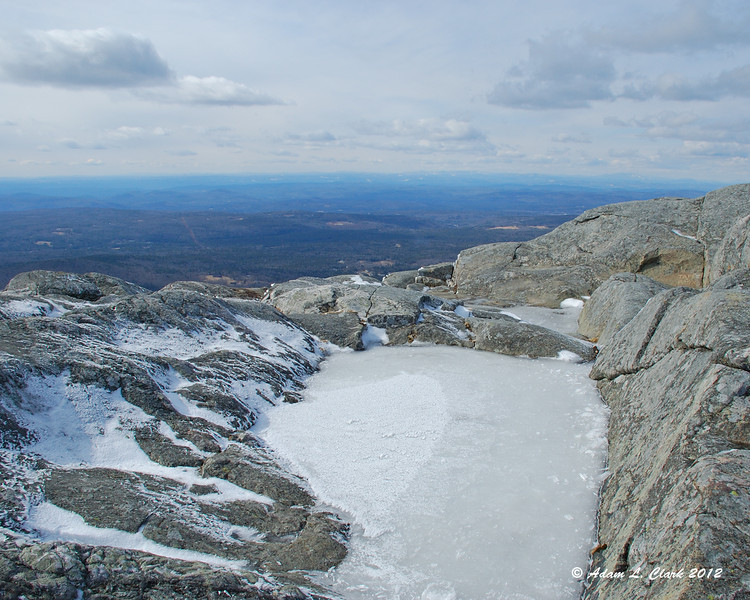 Frozen water at the summit